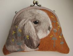 Felted wool bags and purses, with dog's portrait on one side, especially for pet lovers. via etsy