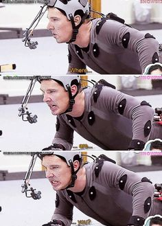 Benedict 's motion capture for Smaug - i cant wait to see full behind the scenes of this!