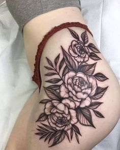 thigh tattoo ebtattooing - Famous Last Words Hip Thigh Tattoos, Hip Tattoos Women, Flower Thigh Tattoos, Up Tattoos, Body Art Tattoos, Cool Tattoos, Sleeve Tattoos, Lower Hip Tattoos, Floral Skull Tattoos