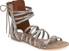 Free People Women's Shoes in Silver Leather Color. A stylish gladiator sandal that's easy to wear with both casual and dressier looks is a must for summer. Silver Strappy Sandals, Leather Gladiator Sandals, Silver Shoes, Women's Shoes Sandals, Women Sandals, Shoes Women, Heels, Up Girl, Heeled Boots
