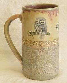 Owl handmade ceramic coffee mug 20oz stoneware by desertNOVA, $22.00