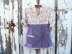 upcycled lavender tunic / ecru tiny floral by BentEdgeAlchemy