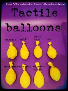 DIY Sensory Balloons - also: Sensory Balloons: dry beans, coffee grounds, hair gel, flour, baby powder, rice, wate