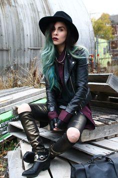 Bewolf Blog... #anyshapes #cellphonecase #fedora #hat #leathergloves #darklipstick #turquoisehair #septum  www.bewolfclothing.com www.anyshapes.com