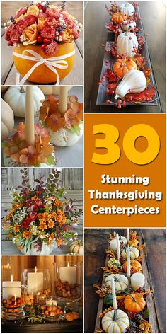 30 Stunning Thanksgiving Centerpieces - Holiday Vault Learn about the origin and history of 30 Stunning Thanksgiving Centerpieces, or browse through a wide array of 30 Stunning Thanksgiving Centerpieces-themed crafts, decorations, recipes and more! Thanksgiving Diy, Diy Thanksgiving Centerpieces, Fall Table Centerpieces, Thanksgiving Table Settings, Fall Mantel Decorations, Decorating For Thanksgiving, Thanksgiving Prayers, Thanksgiving Leftovers, Thanksgiving Tablescapes
