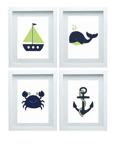 Nautical  Decor Nursery Art Beach Crab Anchor Boat Whale Ocean Green Navy Wall Art Print Set of 4 - 8x10 Kids Room Home Decor Baby's room
