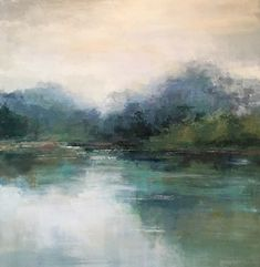 Modern Contemporary Low Country Marsh Abstract Landscape Water Reflections by christina dowdy Acrylic/oil ~ 36 x 36