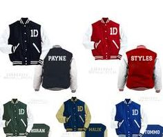One Direction varsity jackets, give me all 5 please! WANT THIS ZAYN MALIK ONE FOR CHRISTMAS!!!!!!!!!!!!!!!!!!!!!!