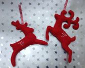 Felt Reindeer Hanging Decorations in Red - Set of Two - pinned by pin4etsy.com