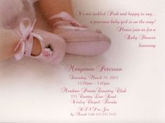 Ballerina Pink toes Baby Shower Invitations, Dance Recital Invites at TCW Designs. Baby Shower Poems, Baby Shower Invites For Girl, Girl Shower, Baby Shower Cakes, Baby Shower Parties, Baby Shower Invitations, Baby Shower Gifts, Shower Party, Cheap Baby Shower