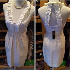"""07) NWT Rampage halter dress Perfect day to night dress! White cotton top looks great with a blazer over the top for the office.                                                               NWT RAMPAGE DRESS Sz: S (side zipper)  Measures: 15.5"""" pit to pit x 37""""L  Fabric: Cotton/Spandex (Lined skirt) Condition: NWT Rampage Dresses"""