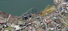 Geauga Lake - Aerial view from Bing Maps Abandoned Theme Parks, Abandoned Amusement Parks, Abandoned Places, Akron Ohio, Cleveland Ohio, Geauga Lake Amusement Park, Lake Park, Sea World