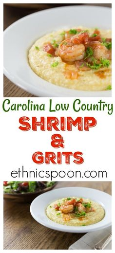 Some of the best comfort food comes from the American South and shrimp and grits ranks near the top! Shrimp and grits is true Low Country cuisine from coastal Carolina and Georgia. Imagine a spicy saucy shrimp with some creamy corn grits with cheese for a nice balance of flavor. This is a must try recipe and feel free to get creative. The grits are a blank canvas to add something spicy to. Like cajun flavors? Add some spicy cajun style shrimp. | ethnicspoon.com