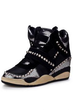 Black Snakeskin Lace-Up Beaded Wedge Sneakers