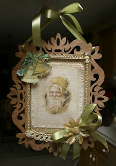 This art that makes me happy: Altered Canvas Santa frame