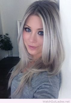 Lovely ash blonde hair color for blue eyes