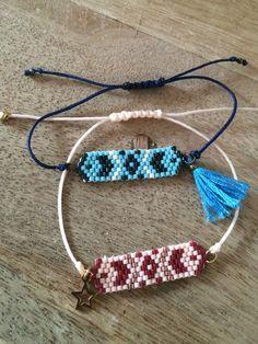 Bracelet réglable, en perles miyuki delica : Bracelet par lolaluis