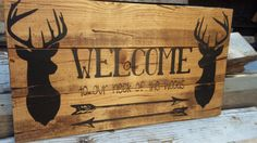 Items similar to Welcome to our Neck of the woods wooden sign on Etsy Welcome sign perfect for that hunting or outdoor adventure home spirit! This sign measures . Pallet Crafts, Pallet Art, Diy Wood Projects, Wood Crafts, Cabin Signs, Porch Signs, Fence Signs, Wood Burning Crafts, Wood Burning Patterns