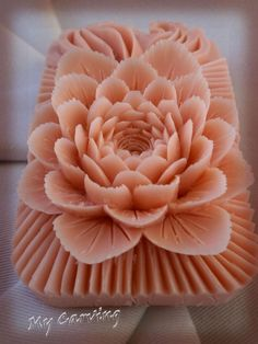 Pink carving bar soap, thai carving soap, pink carved bar soap, pink soap flower, carving soap flower, wedding gift, mother's day gift by ABCarving on Etsy