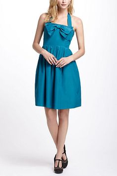 Bowed Halter Dress #anthropologie    I love the electric vibe and the styling possibilities are ENDLESS.