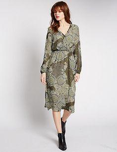 Printed Lined Midi Dress | M&S
