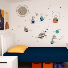 Make your room into a planetarium! Wall decal planets & inhabitants from Green Fat Horses Fat Horse, Planet For Kids, Kids Wall Decals, Modern Spaces, Cozy House, Kids Learning, Gifts For Kids, Planets, Kids Room