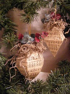 ornament made from hymnal pages