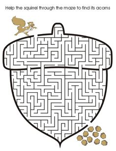 Print Acorn Printable Maze coloring page & book. Your own Acorn Printable Maze printable coloring page. With over 4000 coloring pages including Acorn Printable Maze . Mazes For Kids Printable, Worksheets For Kids, Printable Coloring Pages, Free Printable, Animal Worksheets, Fall Coloring Pages, Coloring Pages For Kids, Coloring Sheets, Thanksgiving Activities