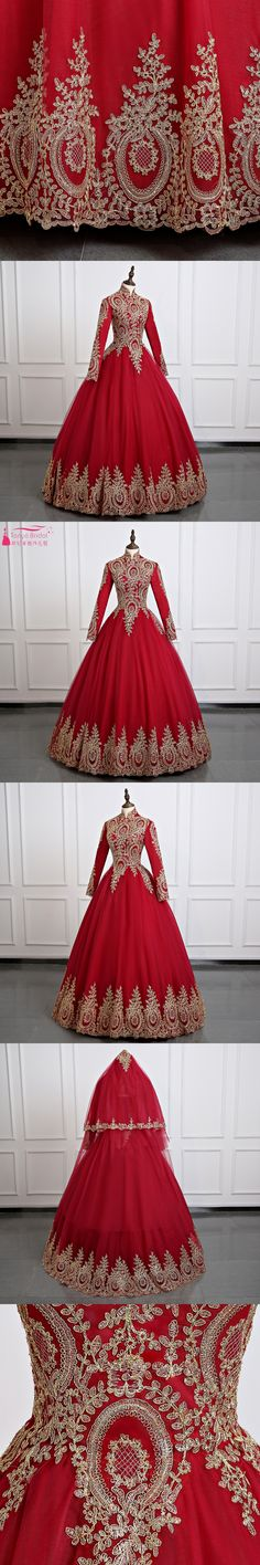 Red Muslim Long sleeve Wonderful Wedding Ball Gowns Hijab Saudi Arabia Bridal Dress Gold Appliques Real photos ZD007