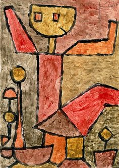 """""""Boy with Toys (Knabe mit Spielsachen),"""" 1940, Paul Klee. Colored paste on paper, mounted on paper; 15⅞ x 12¼ inches (40.4 x 31.2 cm). The Solomon R. Guggenheim Museum, New York."""