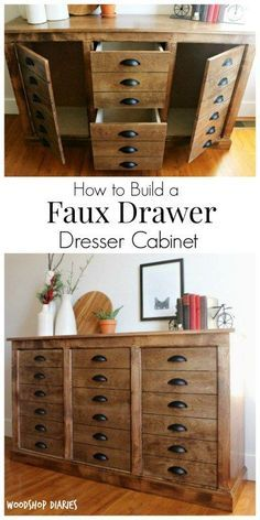 How to Build a DIY Faux Drawer Dresser Cabinet that looks like a DIY apothecary cabinet–free building plans and tutorial! How to Build a DIY Faux Drawer Dresser Cabinet that looks like a DIY apothecary cabinet–free building plans and tutorial! Diy Furniture Plans Wood Projects, Repurposed Furniture, Furniture Making, Furniture Makeover, Cool Furniture, Cabinet Furniture, Furniture Stores, Furniture Ideas, Furniture Design