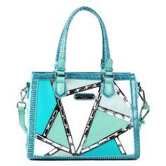#nicolelee #handbags #spring2013. blue, neon blue, turqoise, baby blue, silver handbag.