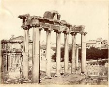 Albumen Large Photo Italy ROME SOMMER Forum Ruins 1870 Temple