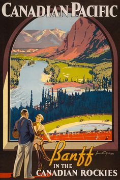 Canadian Pacific. Banff in the Canadian Rockies. A view of the Bow River Valley as seen from the Banff Springs Hotel in Banff National Park, Canada. Vintage 1936 travel poster for the Canadian Pacific