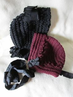 SOLD...Two c 1890s Ladies Bonnets, Hat, Hand Crochet or Knitted Millinery