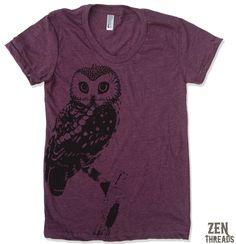 Womens OWL vintage soft american apparel T Shirt S M L XL (16 Colors Available). $18.00, via Etsy.