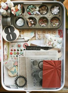 """great idea from @gluestickgirl - """"i'm storing everything i'm using together. this tray came from target - i have another (in aqua!) that i use for my studio calico kits. i LOVE that these stack. i also love that i can pick everything up and move it to the living room to work while i'm with my family."""""""