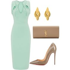 A fashion look from June 2015 featuring Antonio Berardi dresses, Yves Saint Laurent clutches and Kate Spade earrings. Browse and shop related looks. Estilo Fashion, Ideias Fashion, Work Fashion, Fashion Looks, Fashion Beauty, Modelos Fashion, Looks Chic, Elegant Outfit, Mode Outfits