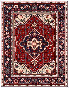 Grille tapis Serapi, Perse, 19ième siècle