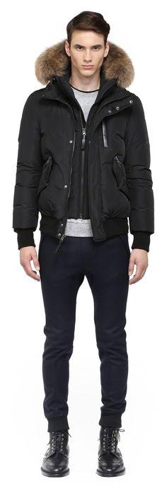 Mackage - HARVEY-F4 BLACK DOWN BOMBER JACKET FOR MEN WITH FUR HOOD. www.mackage.com #menswear #fw14 #wintercoat #fur #parka #luxuryouterwear