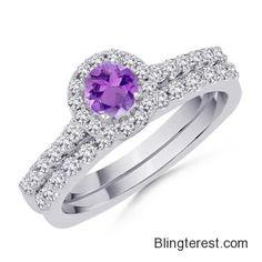 Round #Amethyst and #Diamond #Ring SD_SR0297AM  #Jewelry http://blingterest.com/rings/diamond-rings/round-amethyst-and-diamond-ring-sd_sr0297am-sd_sr0297am-jewelry/