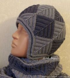 Winter kit with needles in the technique of patchwork . Discussion on LiveInternet - Russian Service Online Diaries Crochet Beanie, Knit Crochet, Crochet Hats, Hand Knitting, Knitting Patterns, Kerchief, Cowl Scarf, Knitted Shawls, Hats For Men