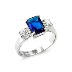 Blue Sapphire Zirconia Silver Ring - Fine Jewelry Gifts, VORI06-03664