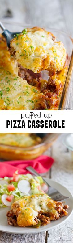 Puffed Up Pizza Casserole - an easy dinner that the whole family will love!
