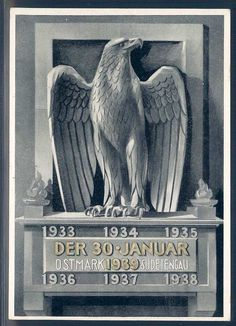 A postcard commemorating the January 30, 1939 unification of the German-speaking Reich