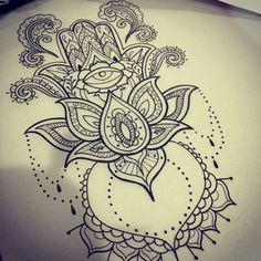 Hamsa hand tattoo design for my @jpol_x tomorrow if she can sit still for more then five minutes #tashapollendinetattoos #physicalgraffiticustomtattoos #pgct #cardiff #cardifftattoos #cardifftattooist #tattooist #tattoodesign #hamsa #lotus #blackwork #dotwork #patternwork