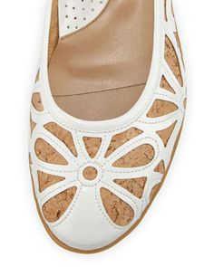Sesto Meucci Bobbi Floral Ballerina Flat, Natural/White