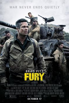 Fury - April 1945. As the Allies make their final push in the European Theatre, a battle-hardened army sergeant named Wardaddy commands a Sherman tank and her five-man crew on a deadly mission behind enemy lines. Outnumbered and outgunned, and with a rookie soldier thrust into their platoon, Wardaddy and his men face overwhelming odds in their heroic attempts to strike at the heart of Nazi Germany.