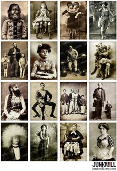 HUMAN ODDITIES ... vintage sideshow freakshow circus performers. Digital Printable Collage Sheet