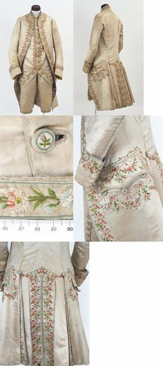 Bunka Gakuen Costume Museum mens suit Jean-Jacques Rousseau c. 18th Century Clothing, 18th Century Fashion, Vintage Dresses, Vintage Outfits, Vintage Fashion, Historical Costume, Historical Clothing, 18th Century Costume, Antique Clothing
